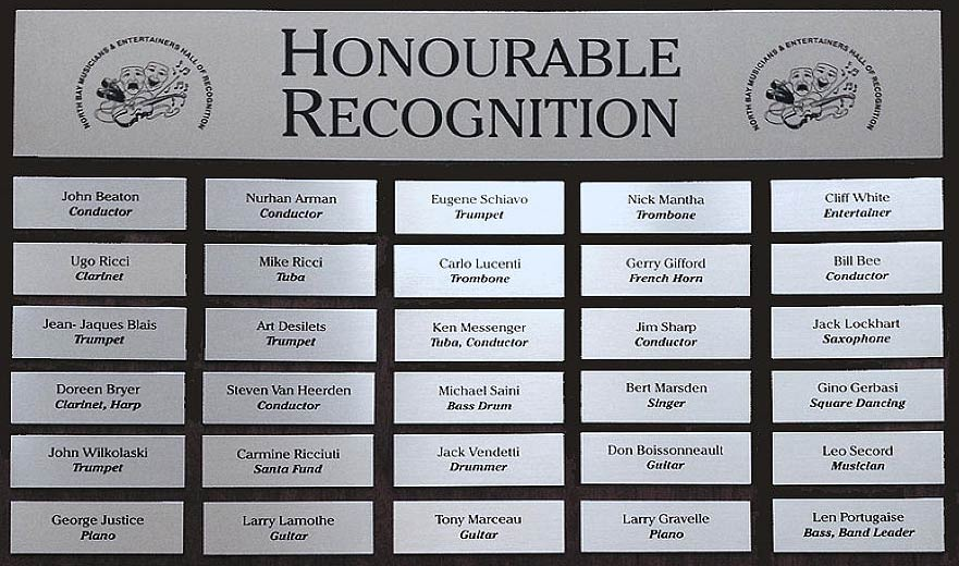 Honourable Recognition Plaques